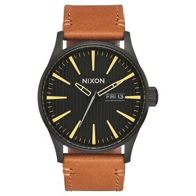 Nixon The Sentry Leather Black/Stamped/Brown