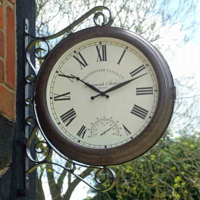 Outside-In Greenwich Wanduhr mit Thermometer